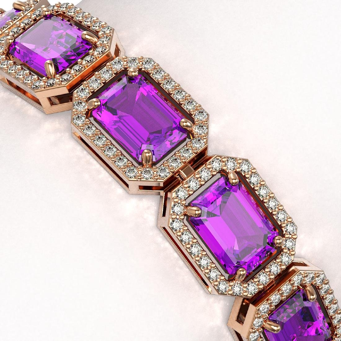 22.81 CTW Amethyst & Diamond Halo Bracelet 10K Rose - 3