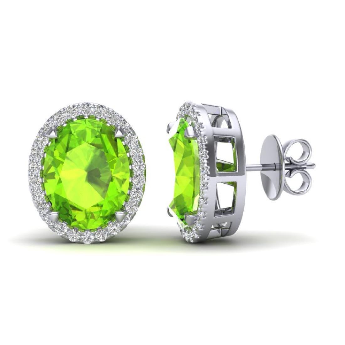 5.50 CTW Peridot & Micro VS/SI Diamond Halo Earrings - 2