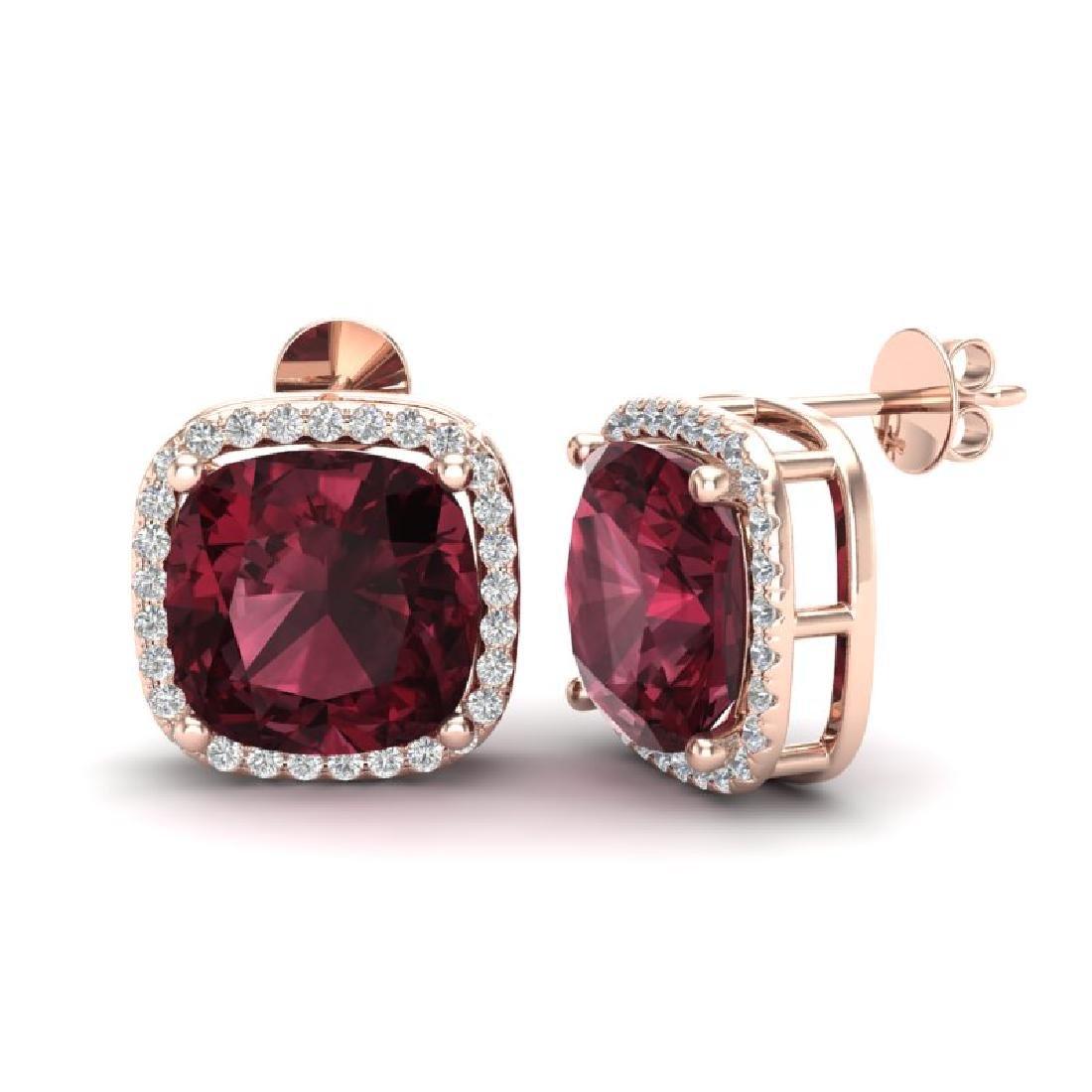 12 CTW Garnet & Micro Pave Halo VS/SI Diamond Earrings - 2