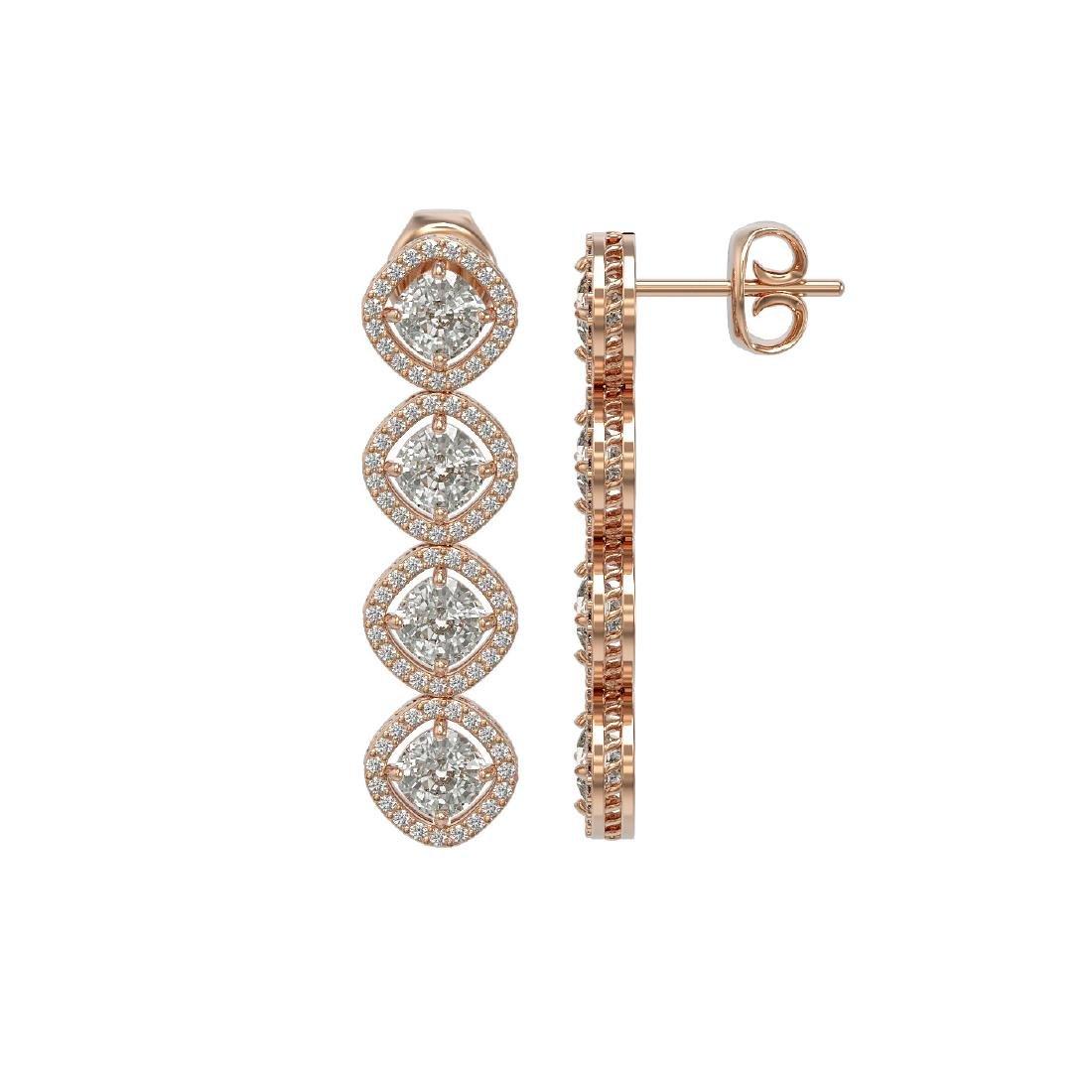 5.28 CTW Cushion Cut Diamond Designer Earrings 18K Rose - 2