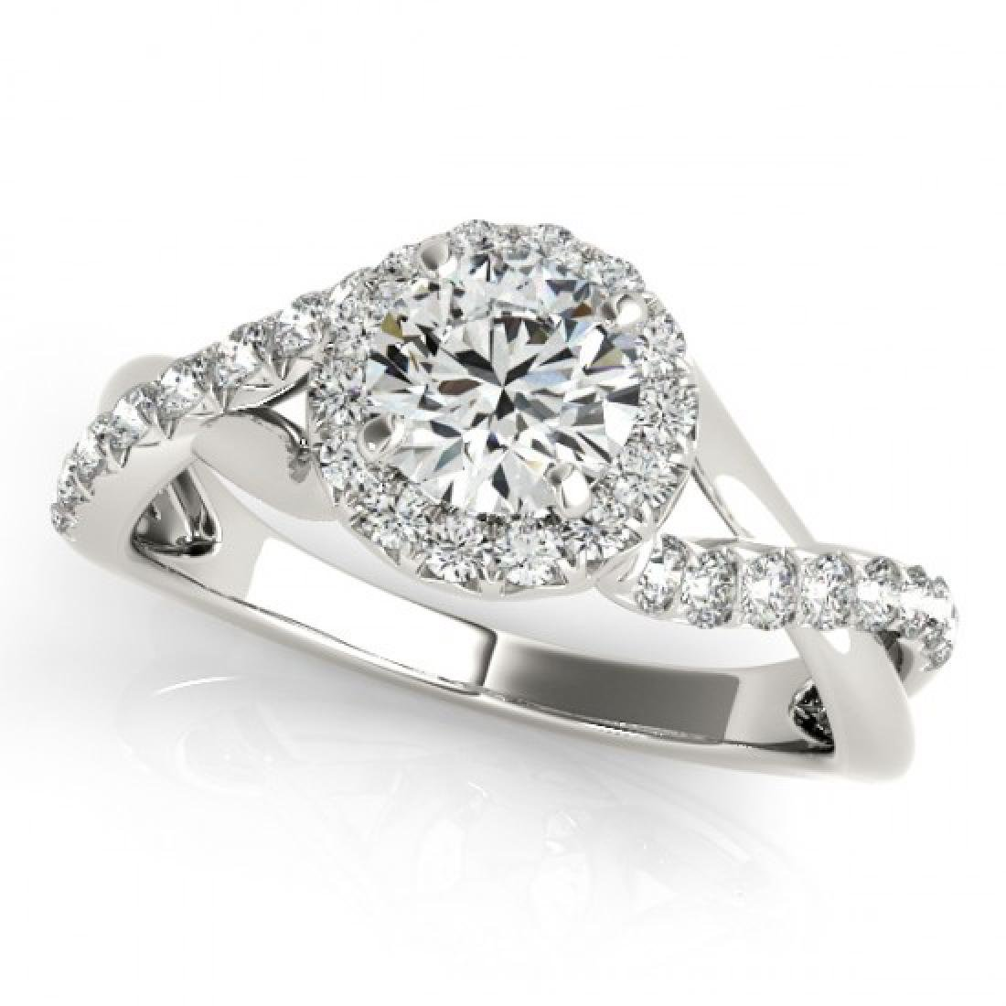 0.6 CTW Certified VS/SI Diamond Solitaire Halo Ring 14K