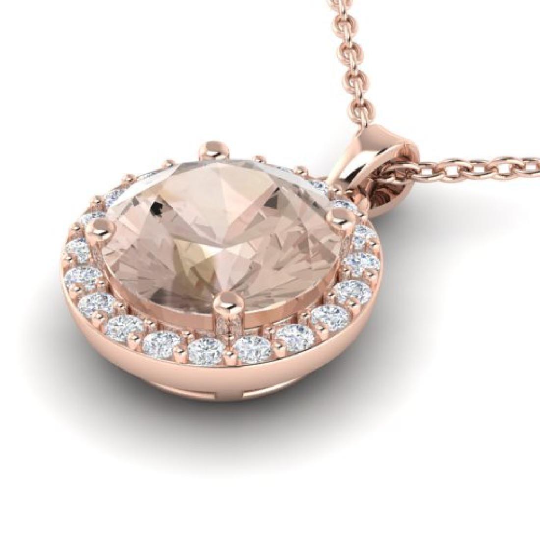1.50 CTW Morganite & Halo VS/SI Diamond Micro Necklace