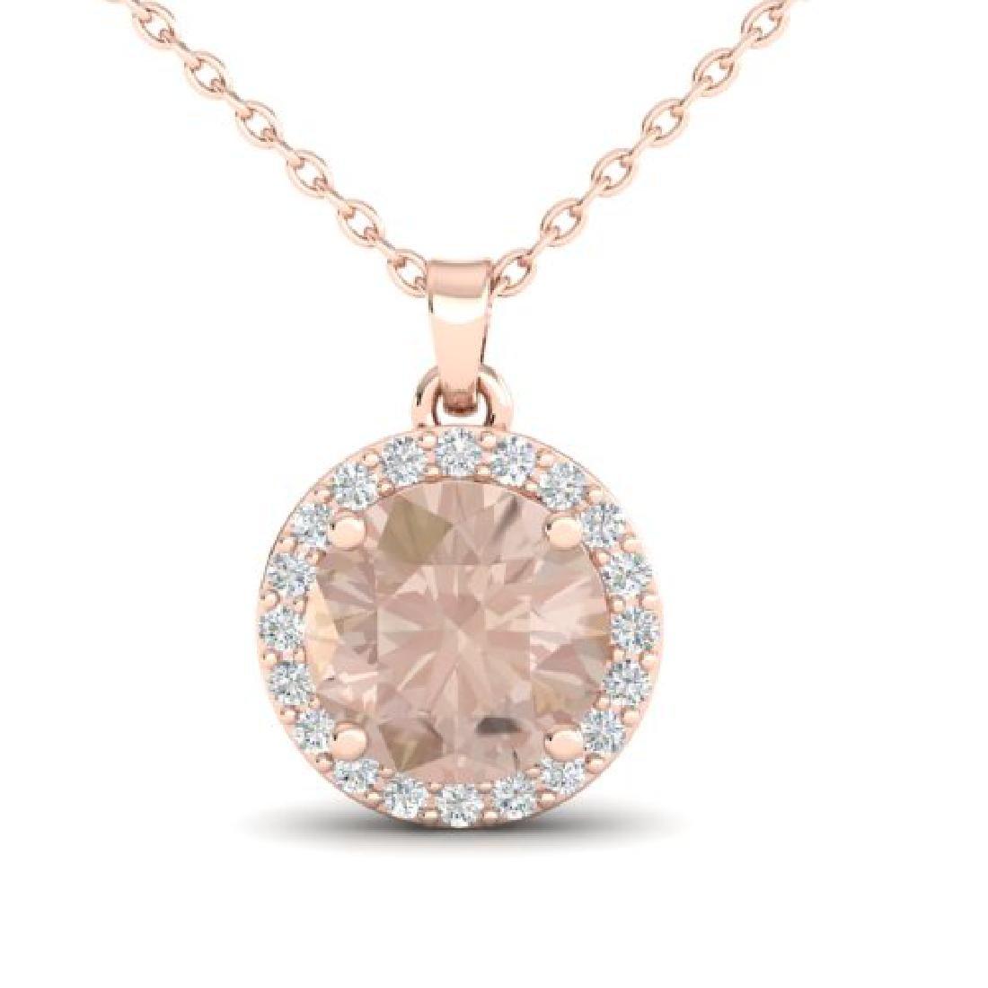 1.50 CTW Morganite & Halo VS/SI Diamond Micro Necklace - 2