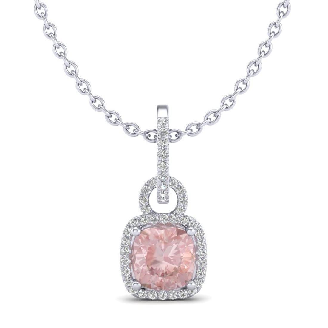 2.75 CTW Morganite & Micro VS/SI Diamond Halo Necklace - 2