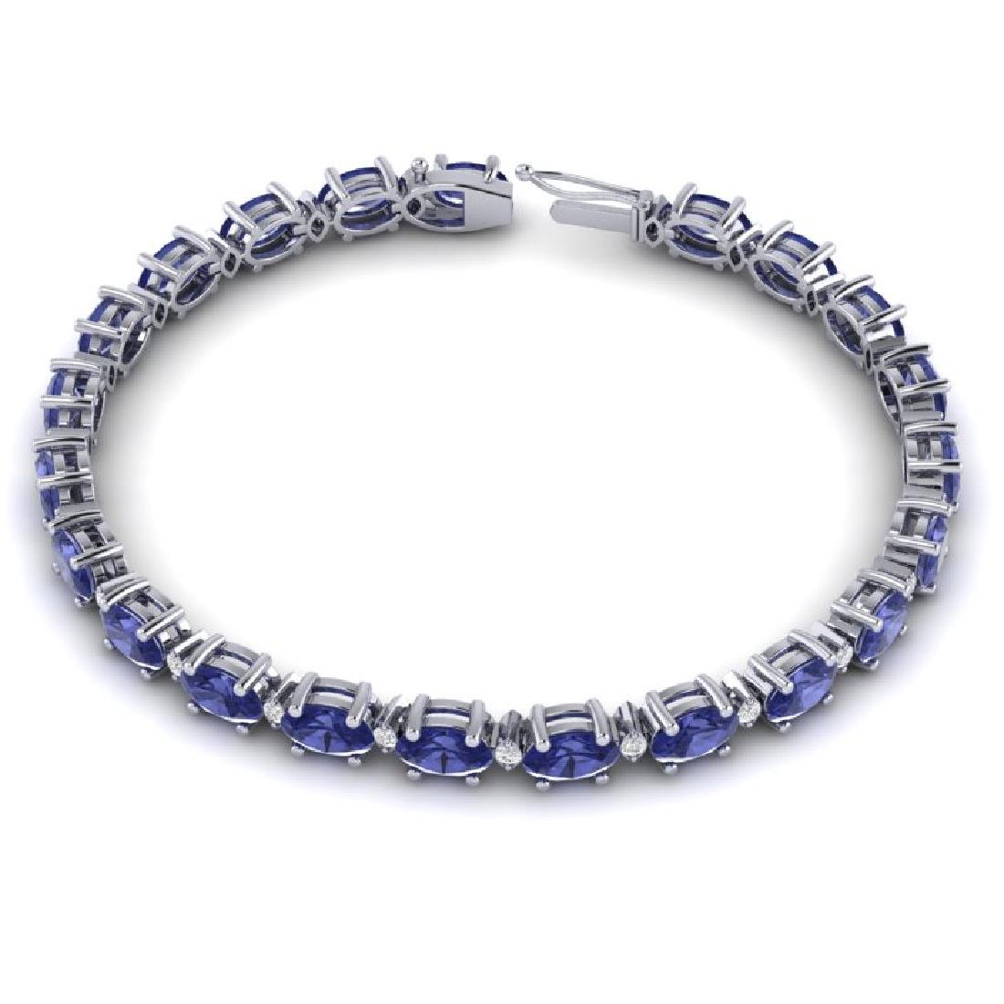 15 CTW Tanzanite & VS/SI Diamond Eternity Bracelet 10K - 3
