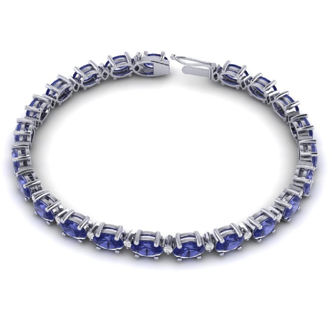 15 CTW Tanzanite & VS/SI Diamond Eternity Bracelet 10K - 3