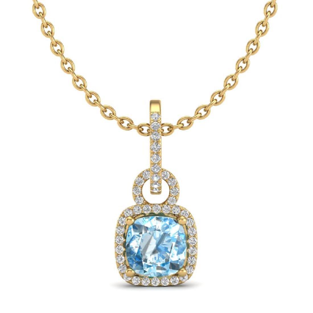 3.50 CTW Topaz & Micro VS/SI Diamond Necklace 18K - 2