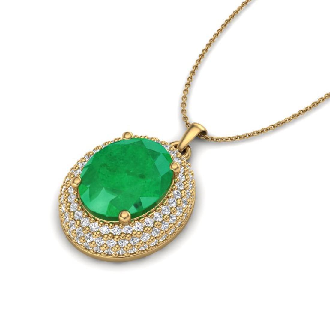4.50 CTW Emerald & Micro Pave VS/SI Diamond Necklace - 2