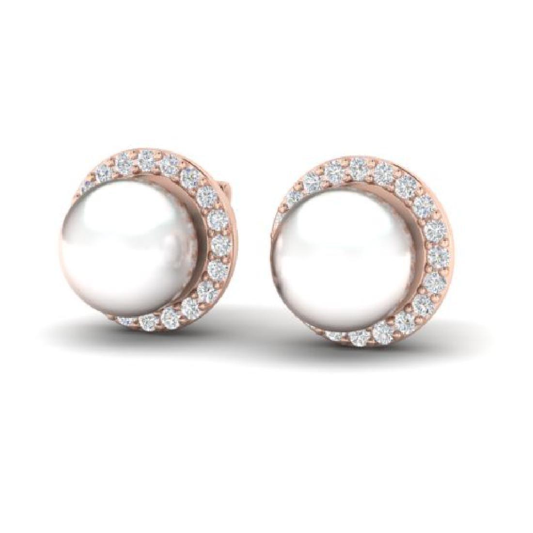0.50 CTW Micro Pave Halo VS/SI Diamond & Pearl Earrings