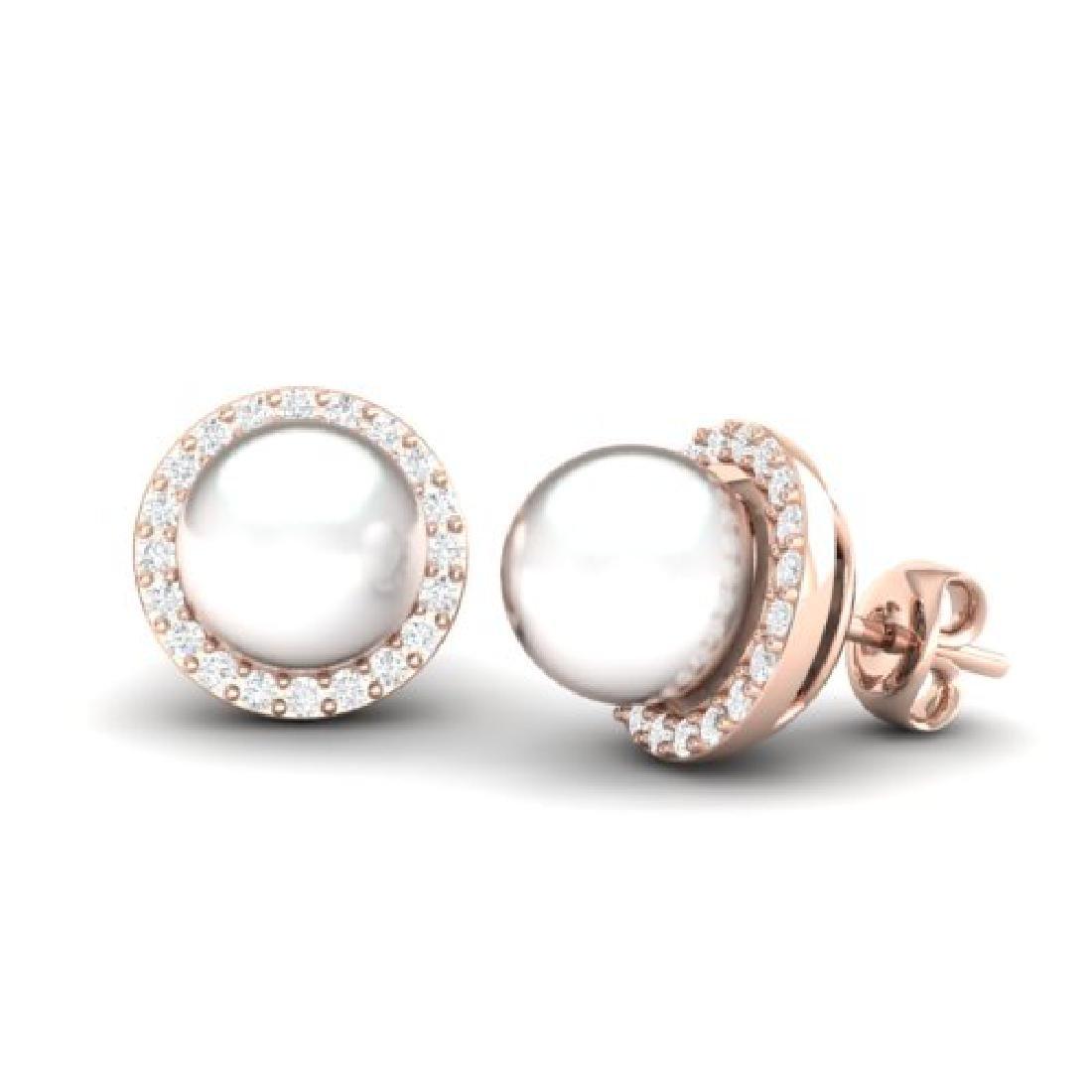 0.50 CTW Micro Pave Halo VS/SI Diamond & Pearl Earrings - 2