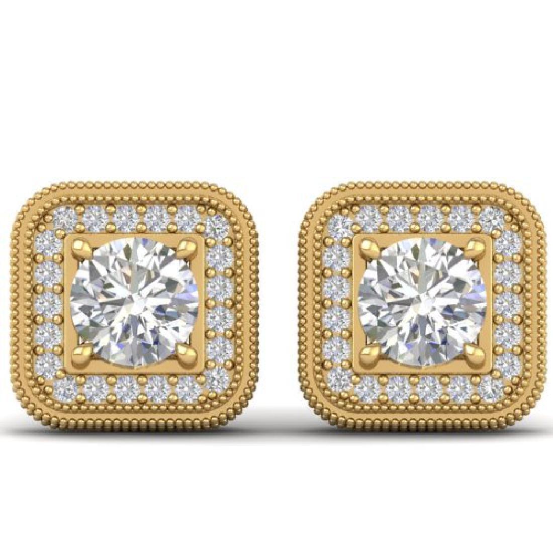 2 CTW Certified VS/SI Diamond Art Deco Micro Halo Stud