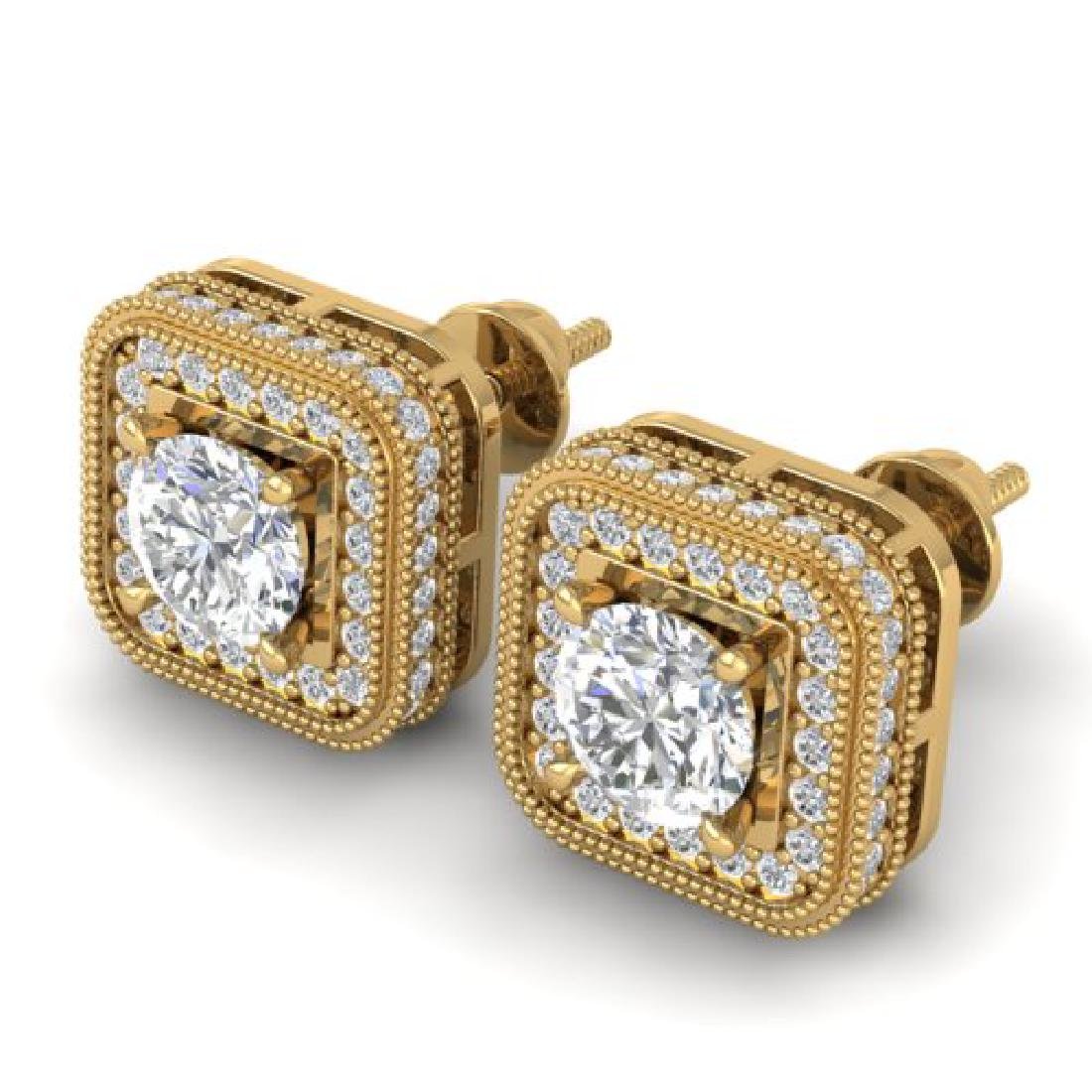 2 CTW Certified VS/SI Diamond Art Deco Micro Halo Stud - 2