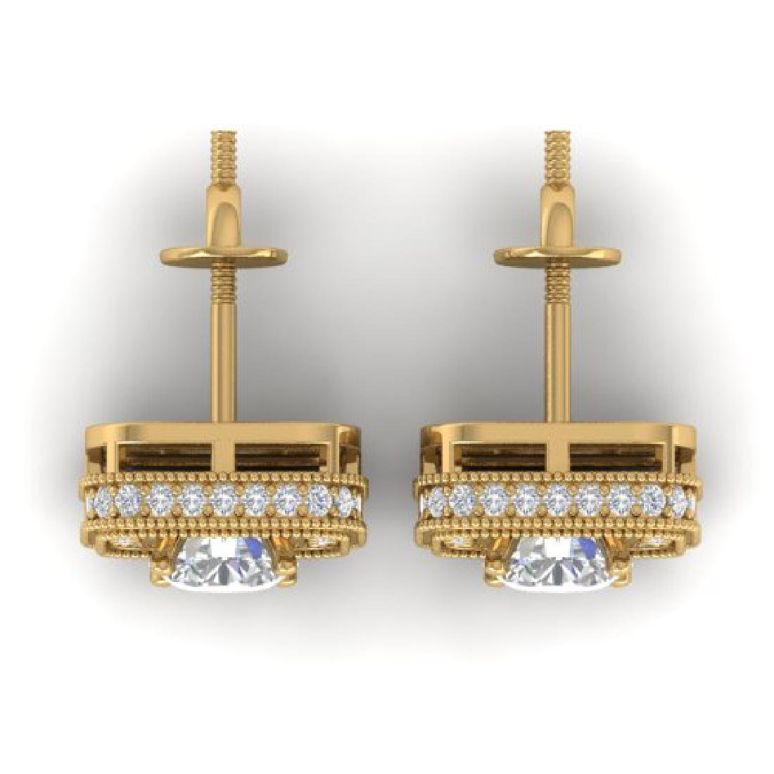 2 CTW Certified VS/SI Diamond Art Deco Micro Halo Stud - 3