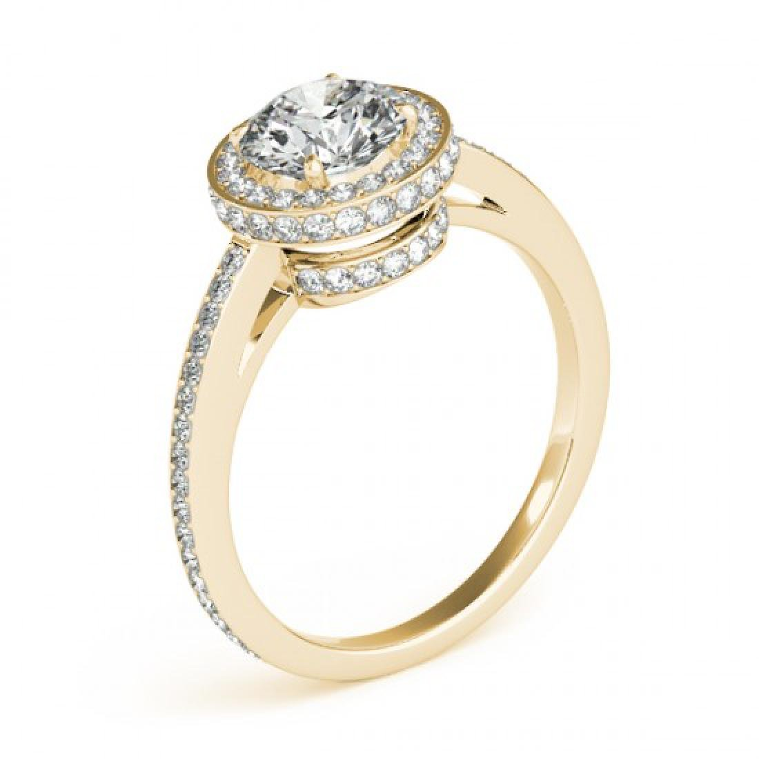 1 CTW Certified VS/SI Diamond Solitaire Halo Ring 14K - 3