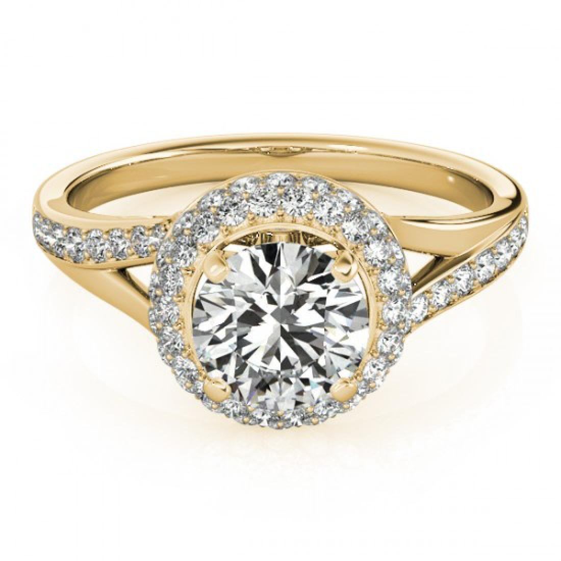 1.6 CTW Certified VS/SI Diamond Solitaire Halo Ring 14K