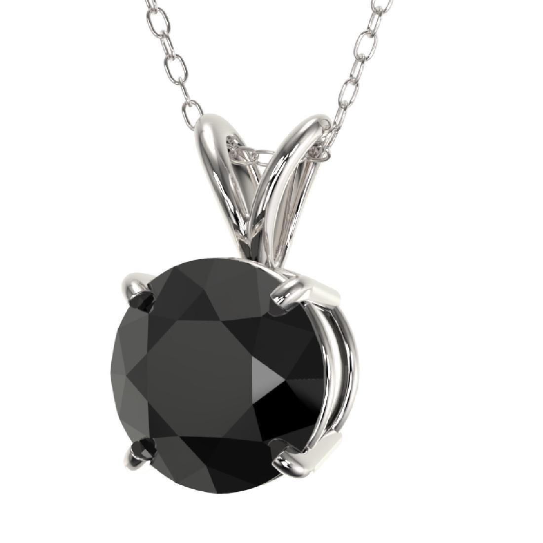 1.59 CTW Fancy Black VS Diamond Solitaire Necklace 10K - 2