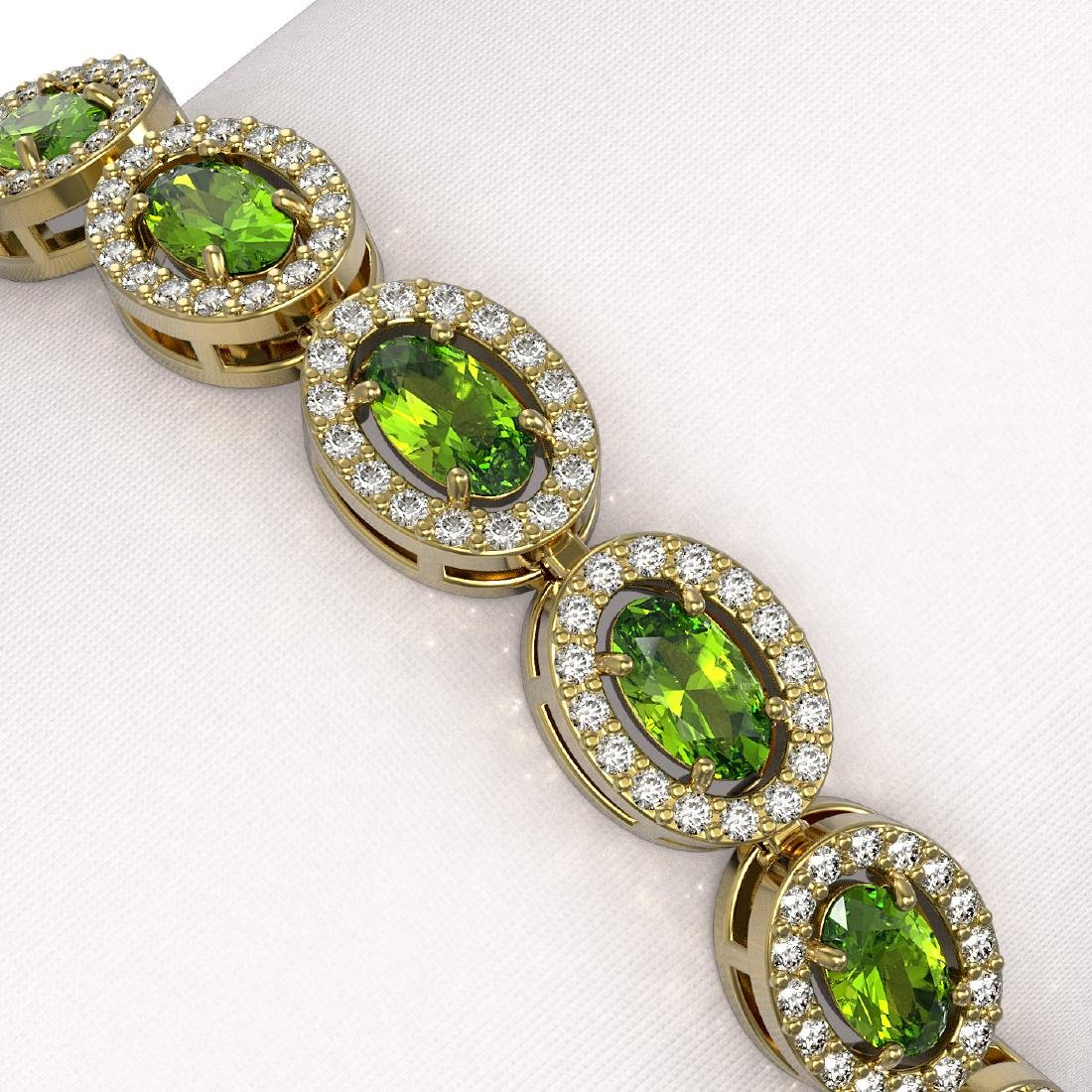 10.67 CTW Peridot & Diamond Halo Bracelet 10K Yellow - 3