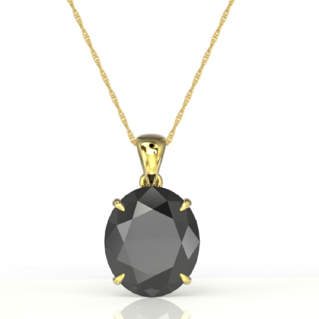 9 CTW Black VS/SI Diamond Designer Solitaire Necklace - 2
