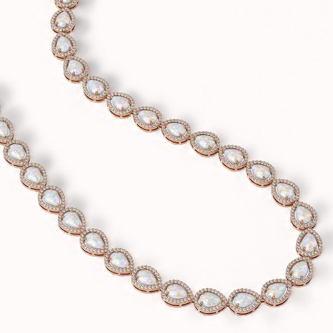 27.93 CTW Opal & Diamond Halo Necklace 10K Rose Gold - 2