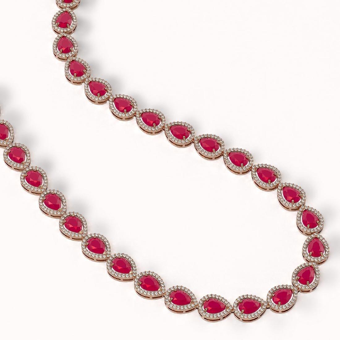 45.93 CTW Ruby & Diamond Halo Necklace 10K Rose Gold - 2