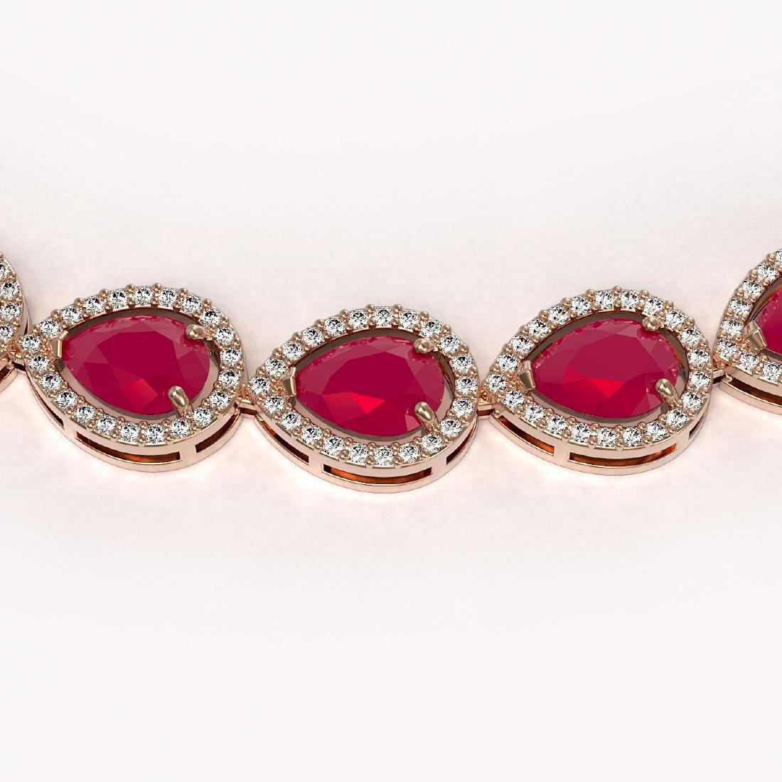 45.93 CTW Ruby & Diamond Halo Necklace 10K Rose Gold - 3