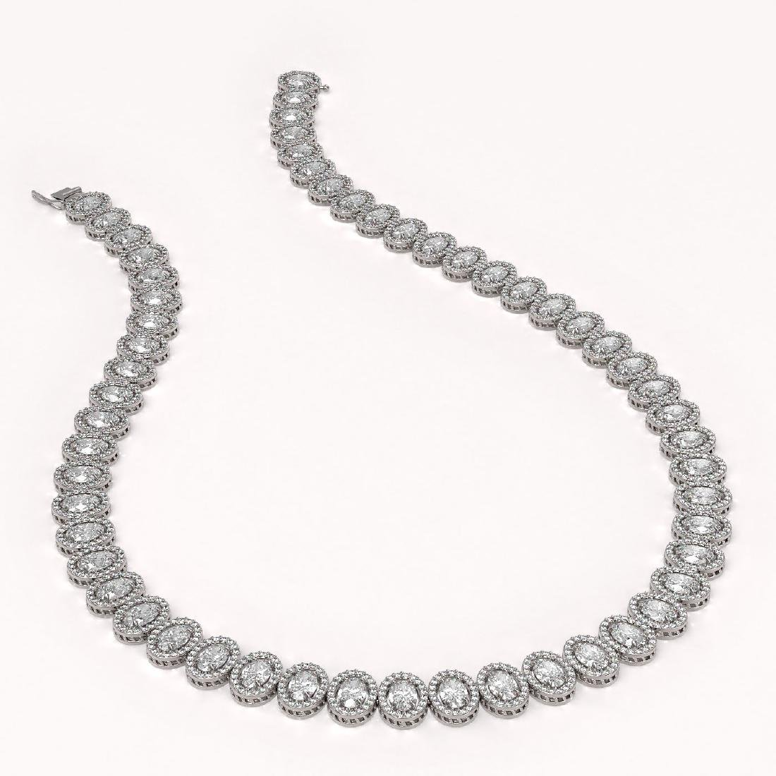 34.72 CTW Oval Diamond Designer Necklace 18K White Gold - 2