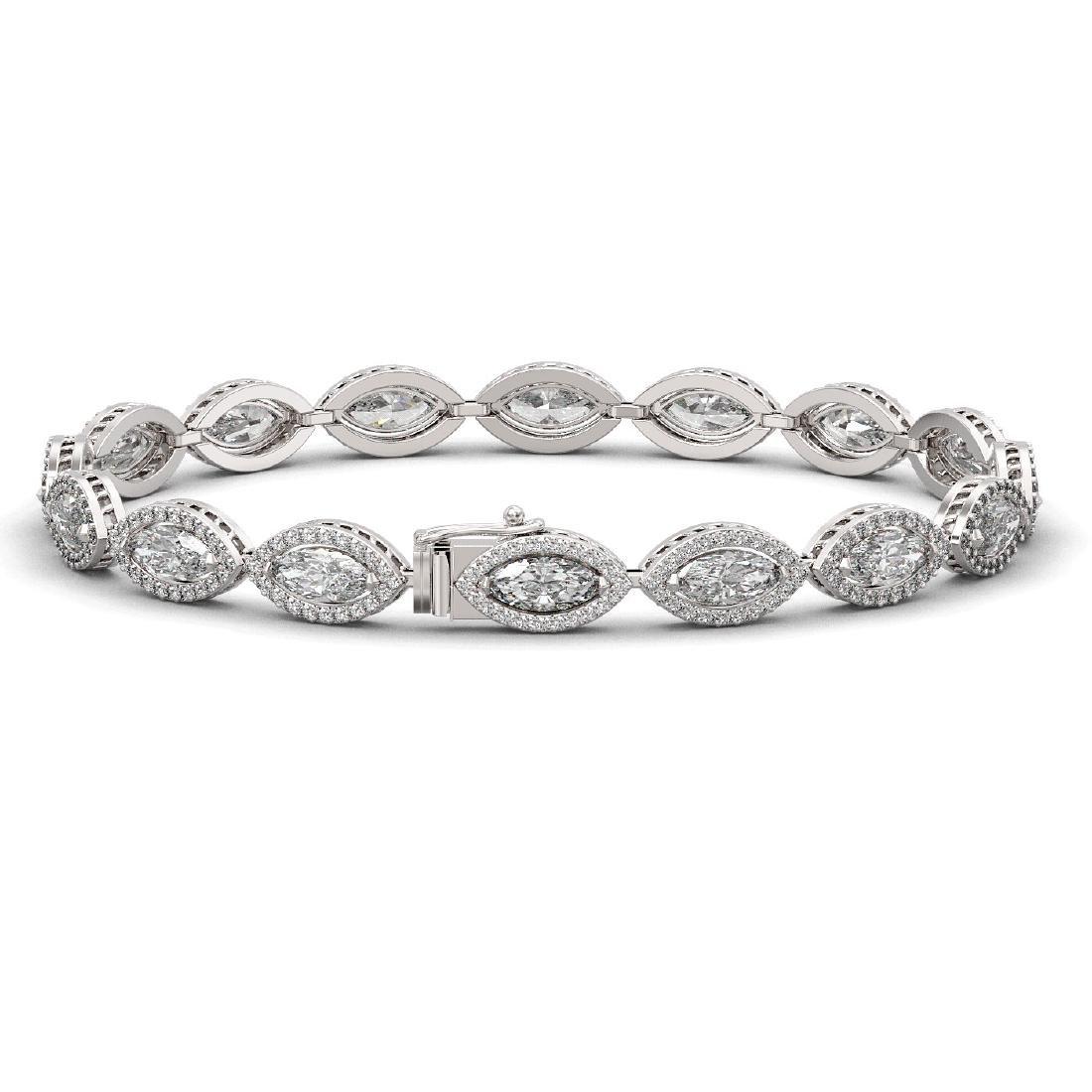 10.61 CTW Marquise Diamond Designer Bracelet 18K White - 2