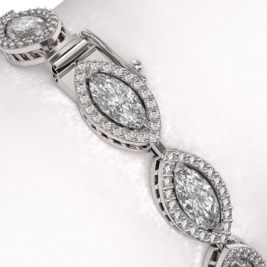 10.61 CTW Marquise Diamond Designer Bracelet 18K White - 3