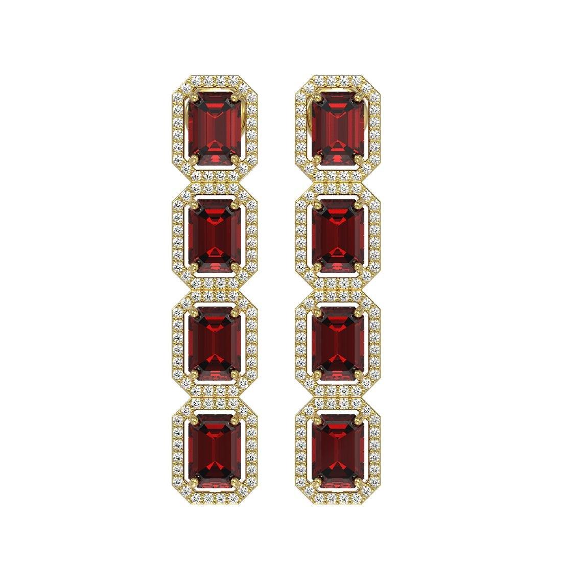 12.73 CTW Garnet & Diamond Halo Earrings 10K Yellow