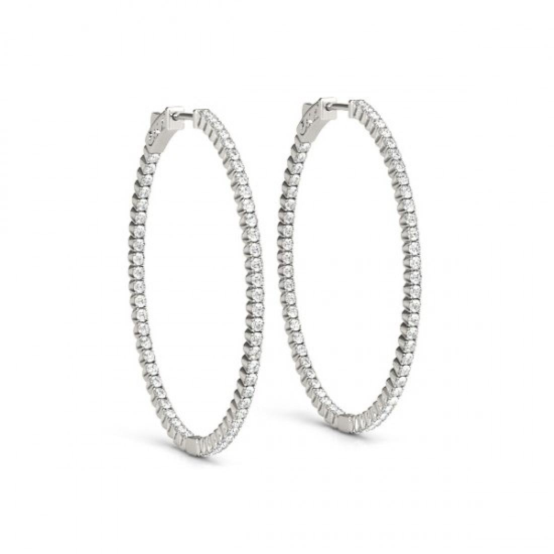 5.25 CTW Diamond VS/SI Certified 45 Mm Hoop Earrings - 2