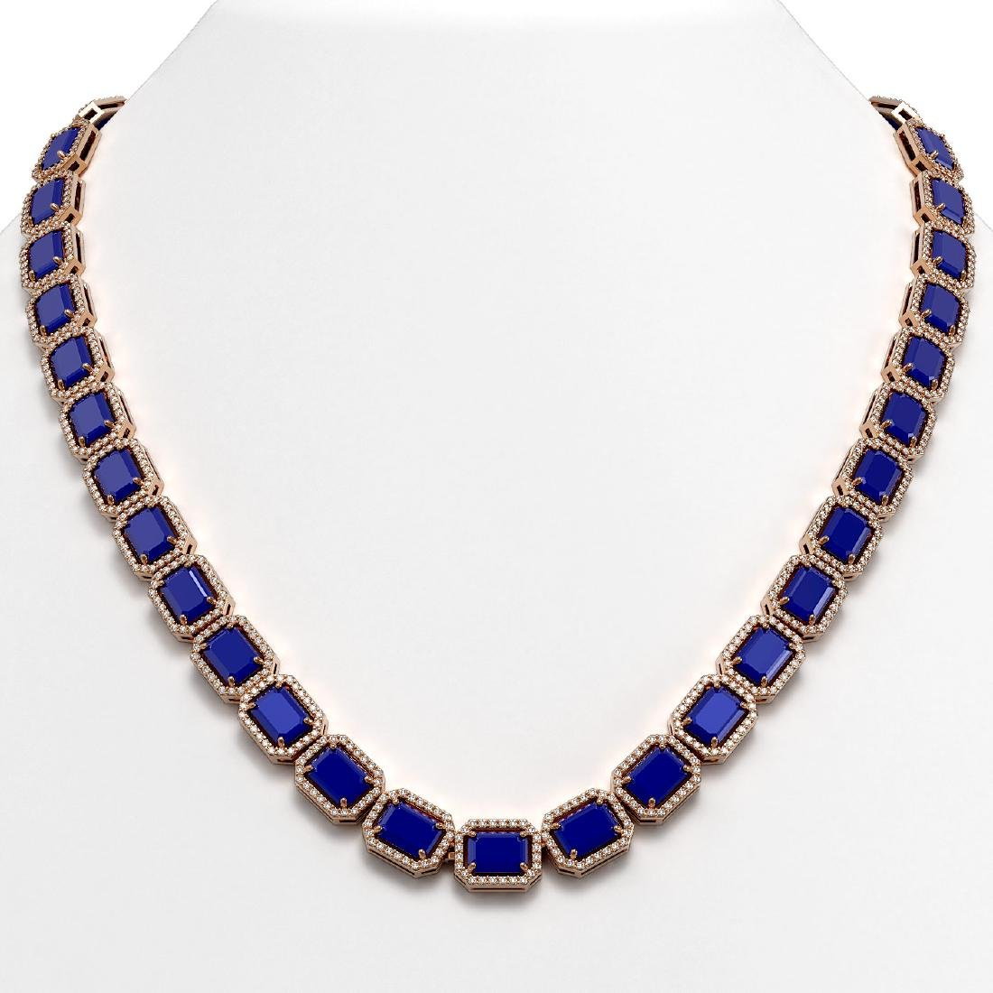 58.59 CTW Sapphire & Diamond Halo Necklace 10K Rose