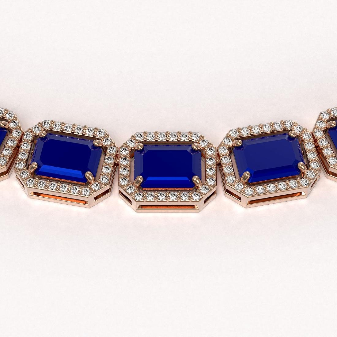 58.59 CTW Sapphire & Diamond Halo Necklace 10K Rose - 3