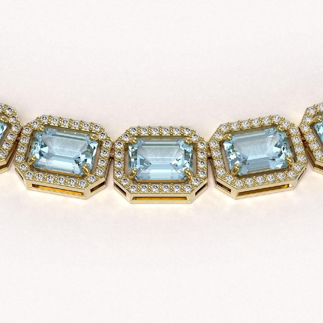 52.89 CTW Sky Topaz & Diamond Halo Necklace 10K Yellow - 3
