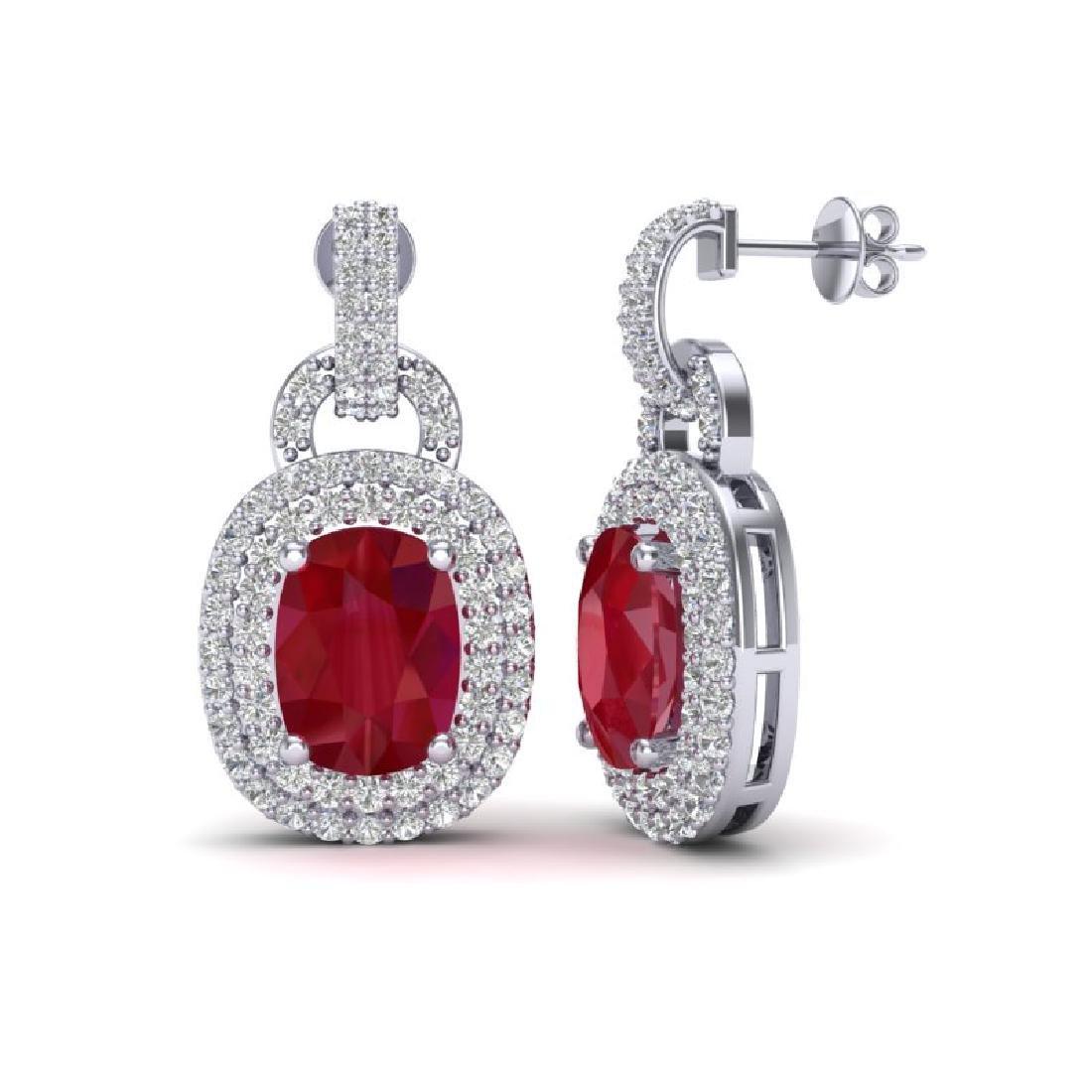 5 CTW Ruby & Micro VS/SI Diamond Pave Earrings Halo 14K - 2