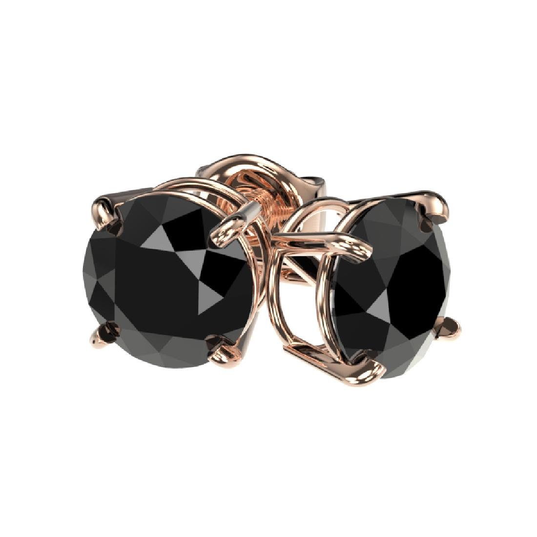 1.61 CTW Fancy Black VS Diamond Solitaire Stud Earrings - 3