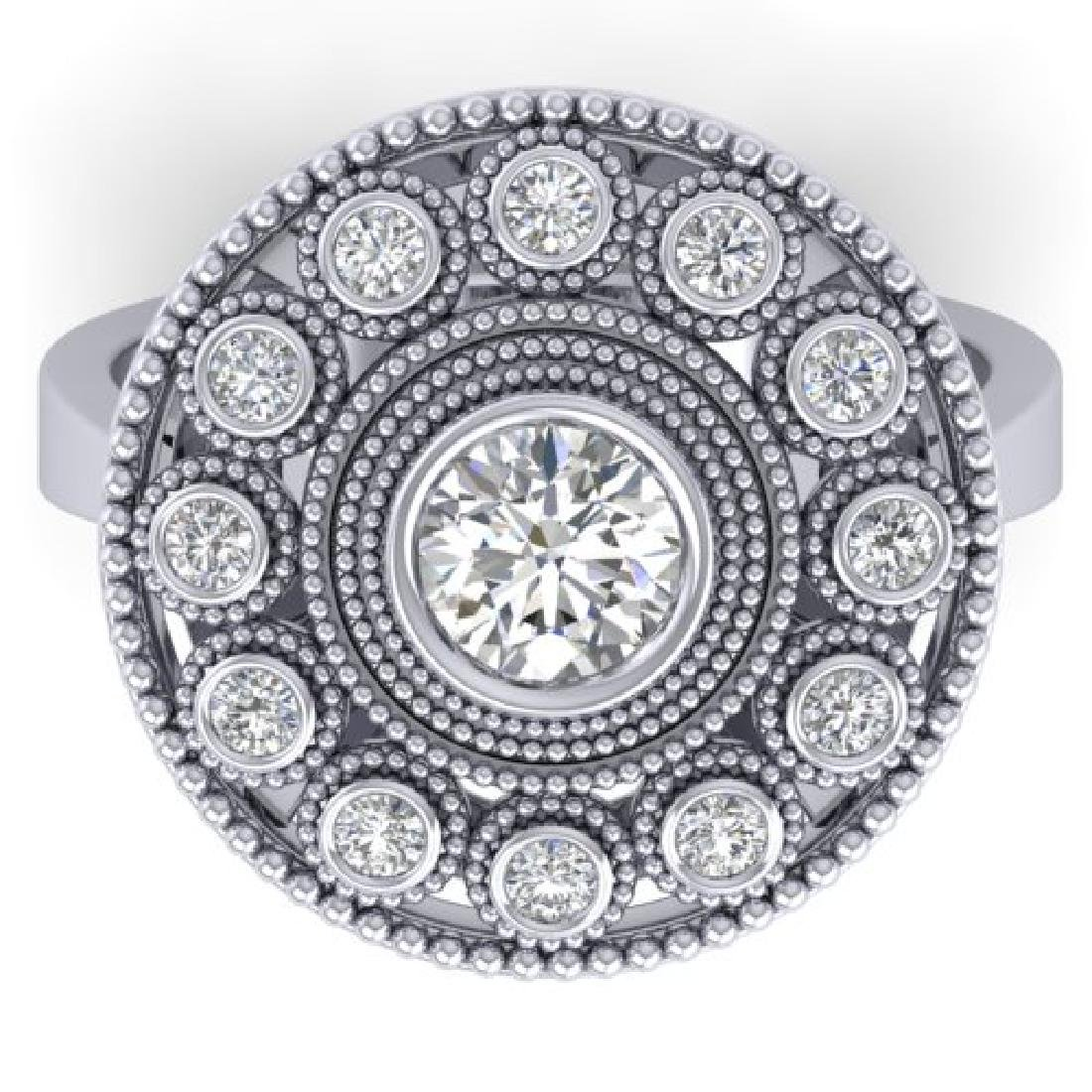 0.91 CTW Certified VS/SI Diamond Art Deco Ring 18K