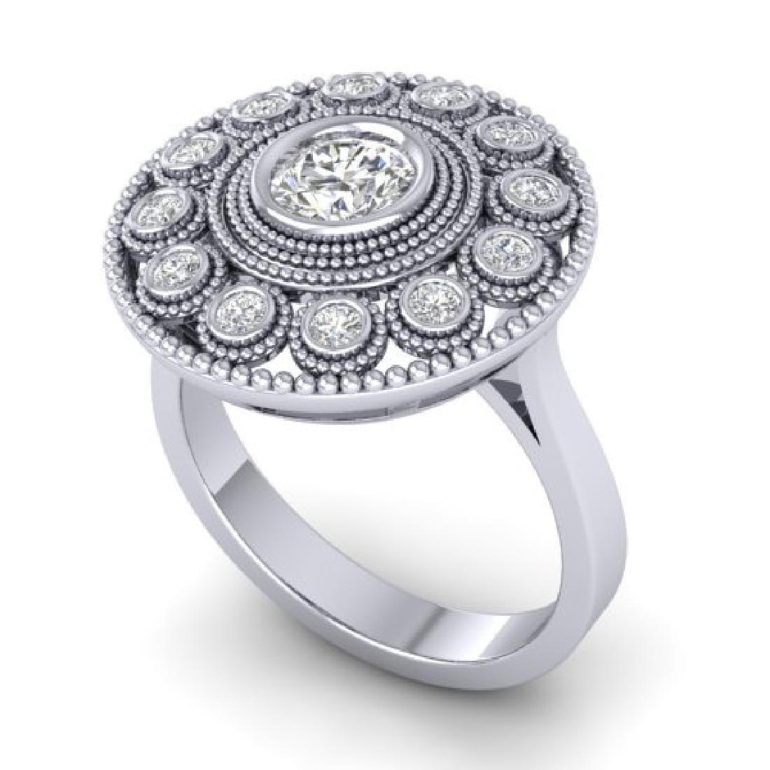 0.91 CTW Certified VS/SI Diamond Art Deco Ring 18K - 2