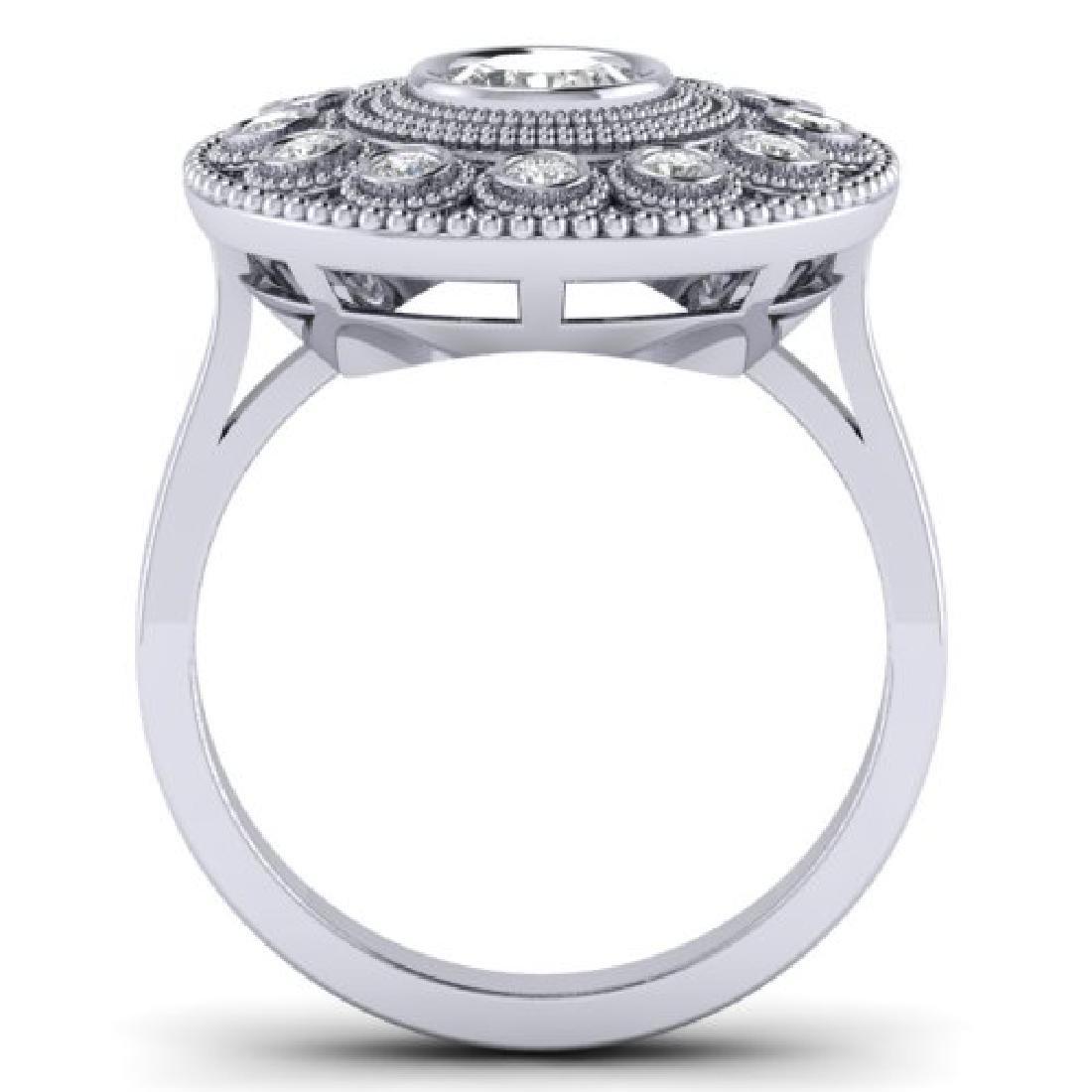 0.91 CTW Certified VS/SI Diamond Art Deco Ring 18K - 3