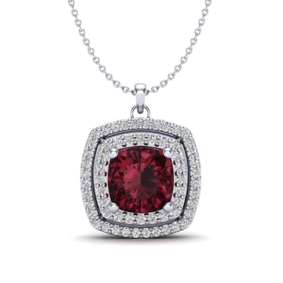2.27 CTW Garnet & Micro Pave VS/SI Diamond Halo