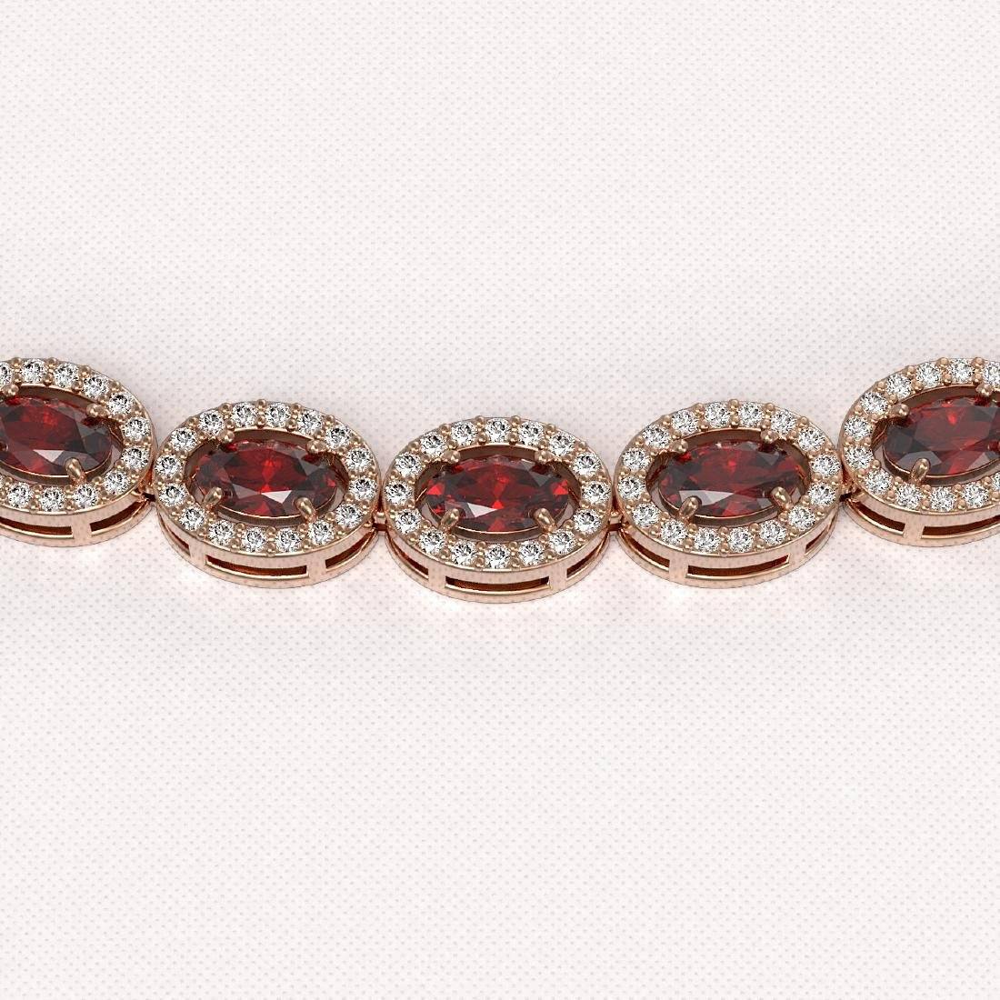 21.04 CTW Garnet & Diamond Halo Necklace 10K Rose Gold - 3