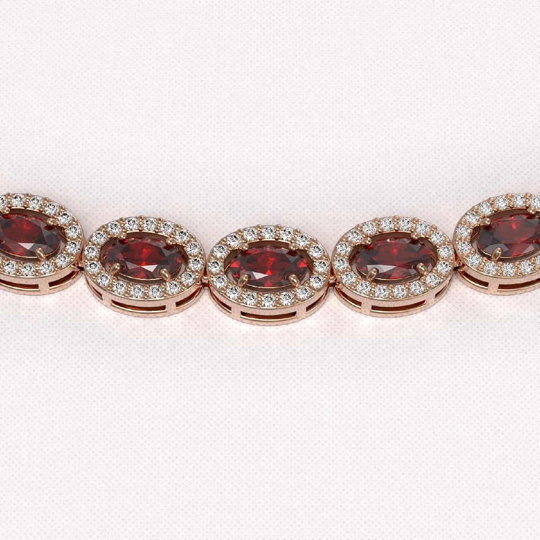 21.04 CTW Garnet & Diamond Halo Necklace 10K Rose Gold - 3