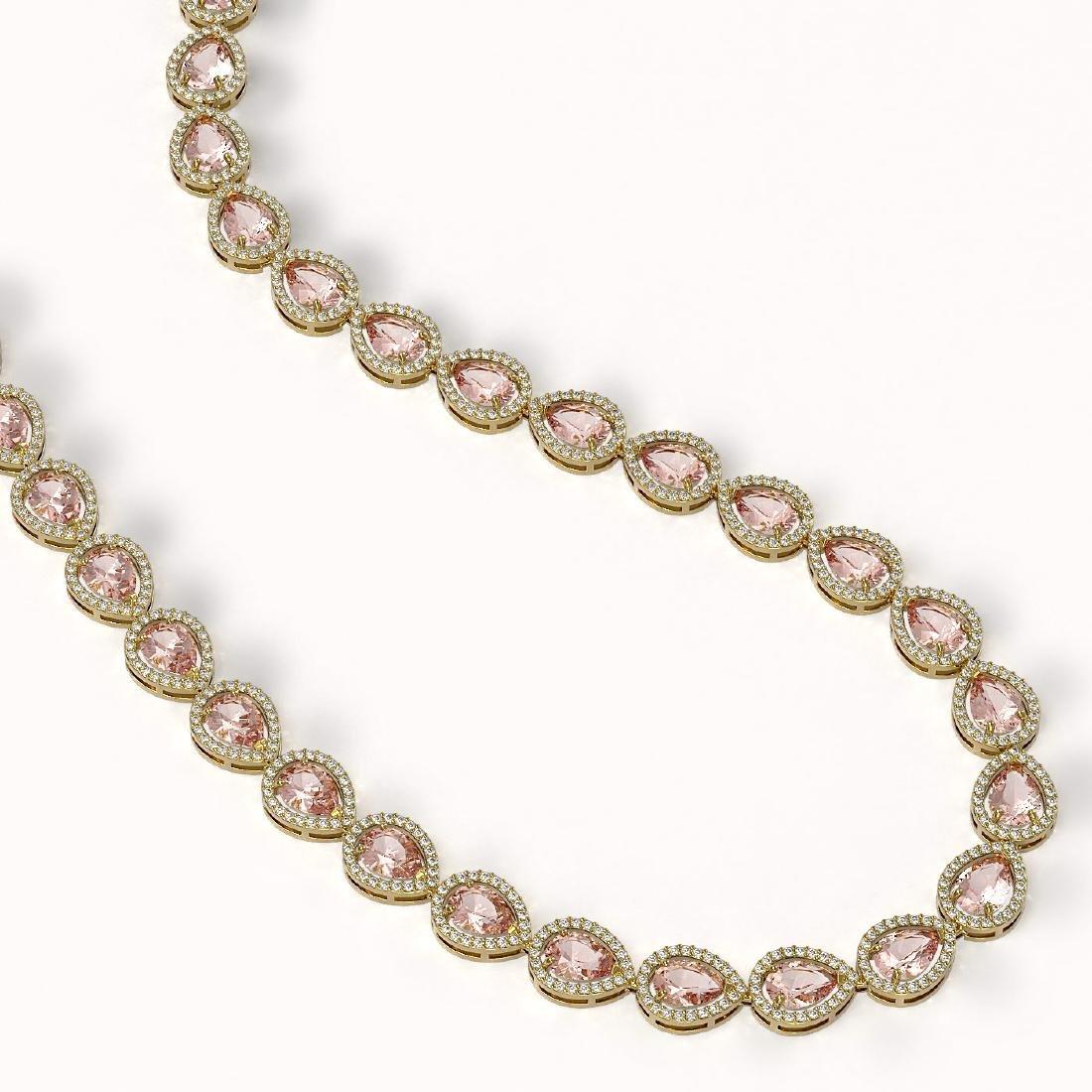 35.13 CTW Morganite & Diamond Halo Necklace 10K Yellow - 2