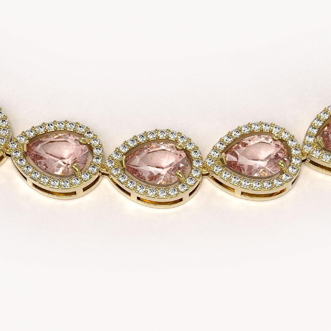 35.13 CTW Morganite & Diamond Halo Necklace 10K Yellow - 3