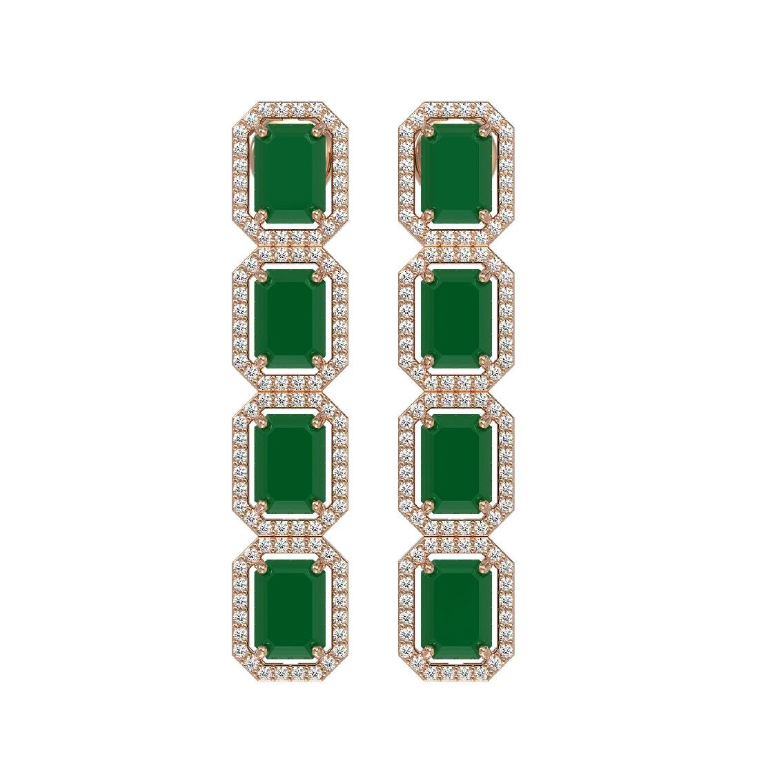 12.33 CTW Emerald & Diamond Halo Earrings 10K Rose Gold