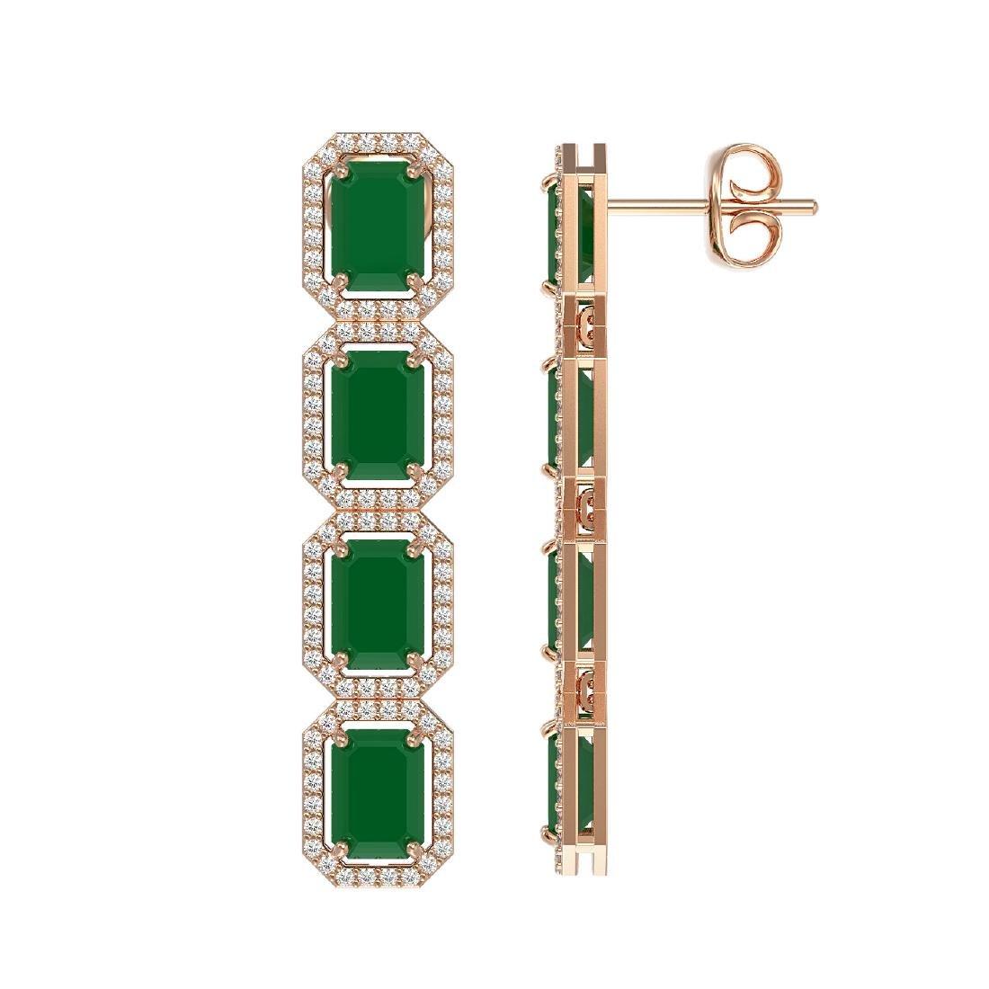 12.33 CTW Emerald & Diamond Halo Earrings 10K Rose Gold - 2