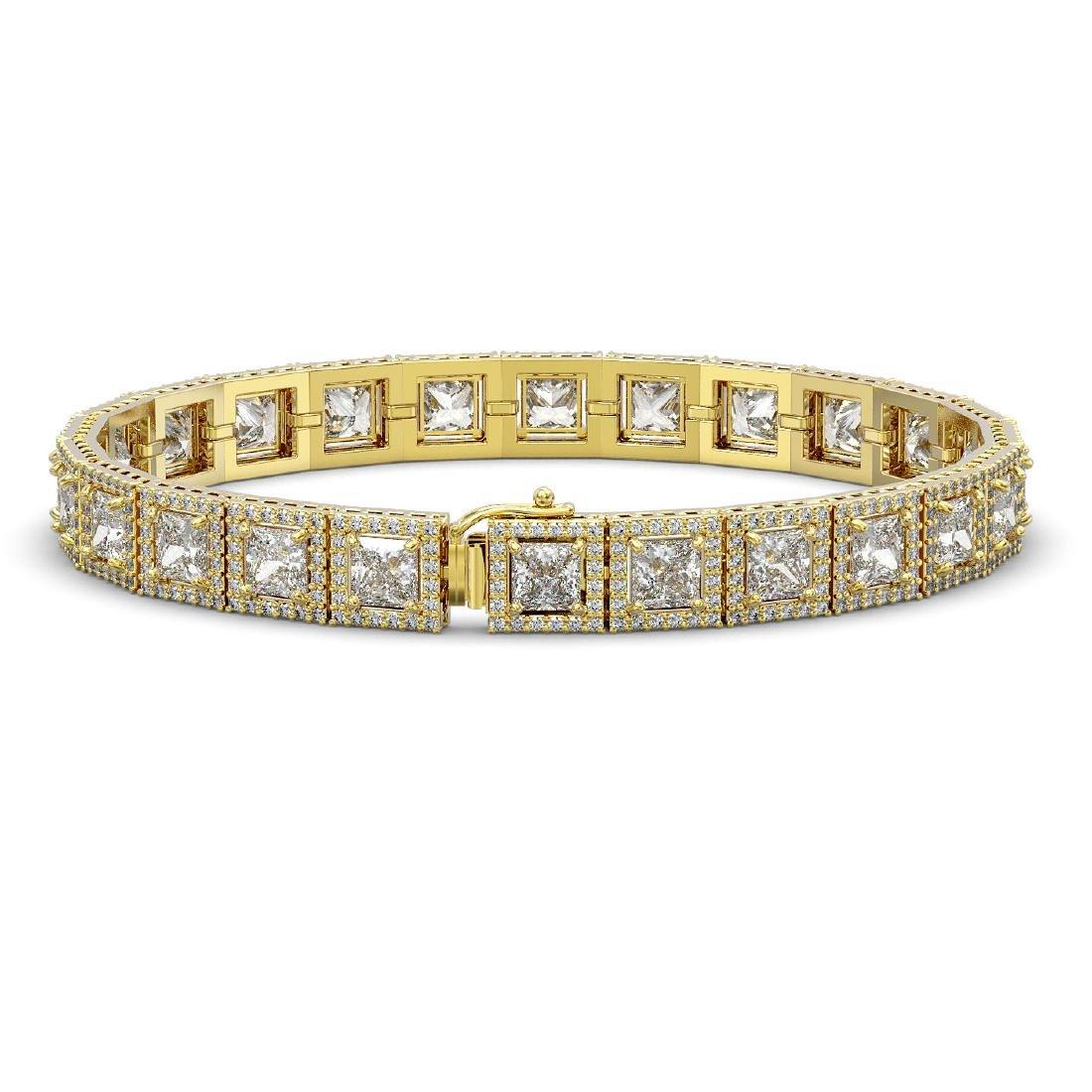 15.87 CTW Princess Diamond Designer Bracelet 18K Yellow - 2