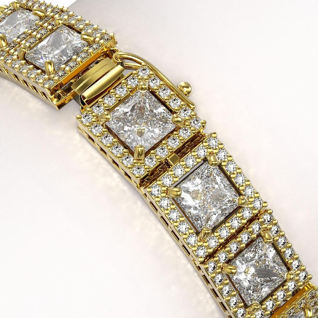 15.87 CTW Princess Diamond Designer Bracelet 18K Yellow - 3