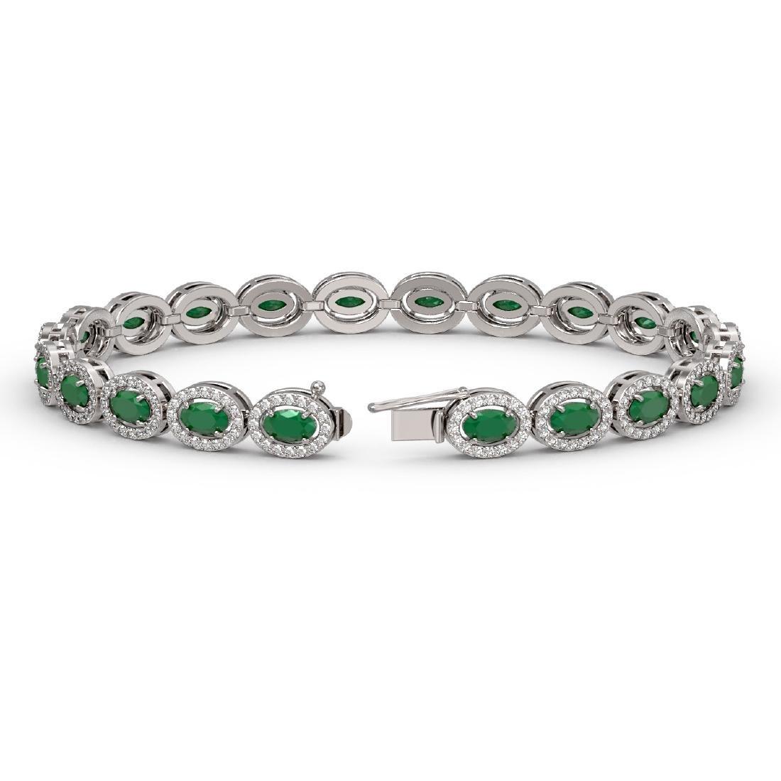 11.58 CTW Emerald & Diamond Halo Bracelet 10K White - 2