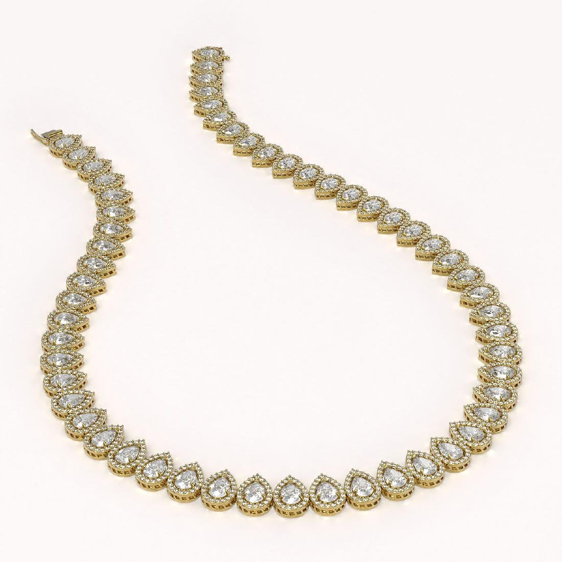 34.83 CTW Pear Diamond Designer Necklace 18K Yellow - 2