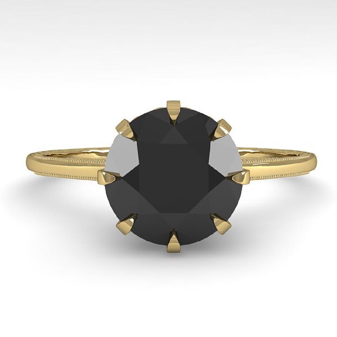 2.0 CTW Black Diamond Solitaire 14K Yellow Gold